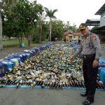 Polres Indramayu, Musnahkan 18.102 Botol Miras Berbagai Merek