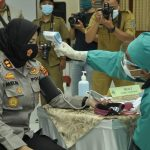 Kapolres Banjar bersama Forkopimda Kota Banjar Menjalani Vaksin Covid-19 di Aula RSUD Kota Banjar