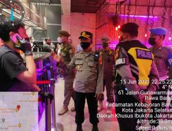 Satuan Sabhara Polres Metro Jakarta Selatan Bersama Tiga Pilar Lakukan Patroli Malam Penegakan PPKM Mikro