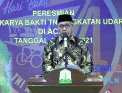 Secara Virtual Kegiatan Peresmian Karya Bakti TNI AU Ke-74 di Gelar di Gedung Anjong Mon Mata, Banda Aceh
