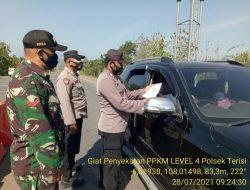 Anggota Polsek Terisi Dalam Rangka PPKM Level 4 Giat Penyekatan Di Get Tol Cikedung