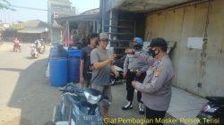 Anggota Polsek Terisi Giat Himbauan Prokes PPKM Level 3 Di Pasar Karangasem