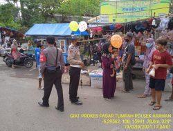 Giat Pengawasan Pendisiplinan Prokes Anggota Polsek Arahan Di Pasar