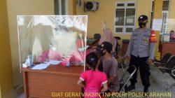 Anggota Polsek Arahan PAM Dan Monitoring Tingkatkan Giat Vaksinasi TNI /POLRI