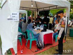 Sat Samapta Polres Ciamis Giat Pengamanan Akselerasi Vaksinasi di Taman Lokasana